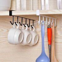 Premium 6 Hooks Kitchen Cup Holder Firm Hang Under Shelf Storage Rack Organiser