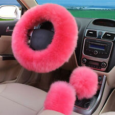 Pink Soft Steering Wheel Cover Furry Woolen Fur +Gear Knob Shifter+Park Brake