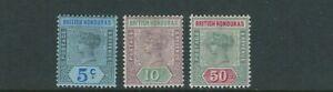 BRITISH HONDURAS 1899-1901 QV profile (Scott 52-54) F/VF MH