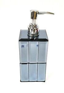 NEW GRAY,BLUE GLASS MIRROR,RECTANGLE MOSAIC SOAP DISPENSER,CHROME SILVER PUMP