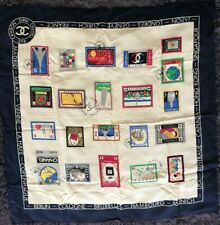CHANEL World Stamp Vintage Silk Scarf Collectable Rare
