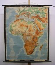 Physische Schulwandkarte Afrique Africa Vintage Physique Mural Map 97x121cm 1961