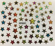 Nail Art 3D Decal Stickers Iridescent Mosaic Stars XF6241