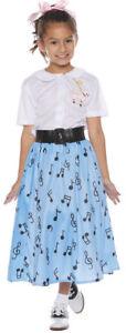 50's Poodle Skirt Costume Girls Retro Blue Musical Notes Soda Pop SM-LG