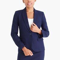 NWT J Crew Cotton Work Blazer Jacket $148 size 0 Navy Blue 9239
