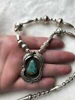#684 Vintage Sterling Silver Navajo Turquoise Pendant, 1980s Bench Bead Necklace