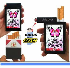 Pink Butterfly Cigarette Case Built On Lighter Top Box Holder Kings 100's Ryo