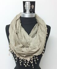 New Women's Solid basket-weave Infinity Crochet Scarf 2-Circle Wrap Soft Taupe