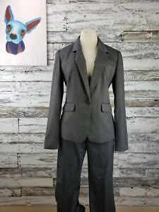 Banana Republic Womens Pant Suit Gray Herringbone Size 6 Size 4 Pants Martin Fit