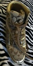 Coach Norra Sneakers Gold Signature C Logo Hi Top A1431 Size 11 M