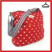 Cath Kidston Large Fabric Cotton Red Polka Dot Cross Body Messenger Tote Bag B9
