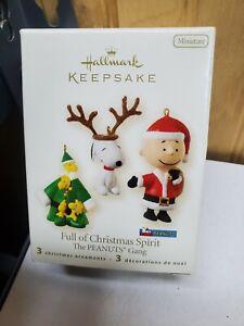 "Hallmark Keepsake ""Full of Christmas Spirit"" Ornaments The Peanuts Minis 3 Piece"