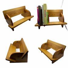 🌟Vintage Honey Pine Wooden Desktop Book Dvd Stand Rack Shelf Trough Table Top