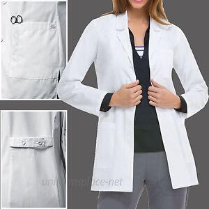 Dickies EDS SCRUBS Women Lab Coat Pocket Notched Collar Long Sleeve 84400 White