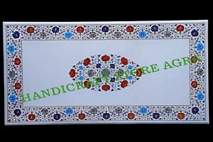 """60""""x30'' Marble Dining Table Top Multi Stone Floral Marquetry Inlay Decors"""