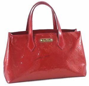 Authentic Louis Vuitton Vernis Wilshire PM Hand Bag Red M93642 LV D2554
