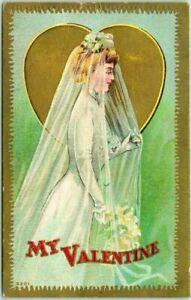 Bride in Wedding Dress ~Antique Embossed~Valentine Postcard-c861