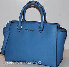 MICHAEL KORS Selma LARGE Satchel Leather Tote Bag Purse Handbag Heritage Blue