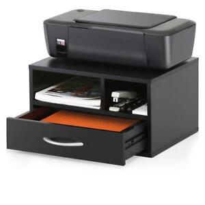 Printer Stand Desk Organizer Wood File Drawer Office Storage Shelf Desktop