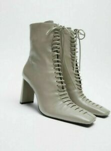y sZARA LACE-UP LEATHER HIGH HEEL ANKLE BOOTS VICTORIAN KHAKI GREEN 37 1136/610