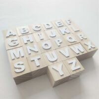Alphabet Letter Building Block Neutral Wooden Baby Educational Toy Nursery Decor