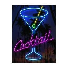 METAL WALL SIGN  PLAQUE Neon Cocktail Drinks Kitchen Bar Cafe Home Man Cave