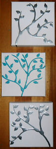 ABSTRACT CANVAS PAINTINGS x 3 TREES TURQUOISE WHITE SILVER DEE'S FUNKY ART