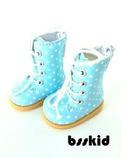 "Y02 BJD Yo-SD 1/6 Dollfie 13"" Effner 12"" Kish Doll Shoes Boot Blue Polka Dot"