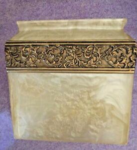Vtg MCM 70s 80s Lucite Acrylic Square Tissue Box Gold Amber Swirl Smoke Regency