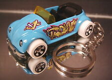 VW Volkswagen Beetle Key Chain Ring Convertible Light Blue Diecast 3D Fob