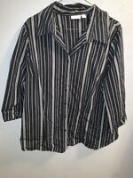 Apt. 9 Women's Top Pinstriped 3/4 Sleeve Button Down Shirt Career Work Size 1X