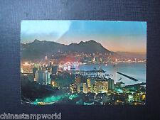 old China hk postcard,evening scene of HK island viewed fm Causeway bay 30.7.70