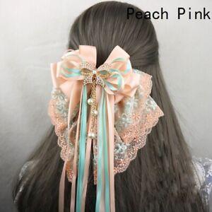 Lolita Girls Hair Clip Hairpin Headwear Lace Bowknot Beaded Pendant Sweet Cute