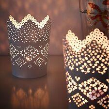 2 x IKEA SKURAR 11cm White Lace-Style Tea Light/Candle Holders