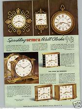 1955 PAPER AD Semca 8 Day 15 Jewel Twin Dial Desk Clock Boudoir Travel Alarm