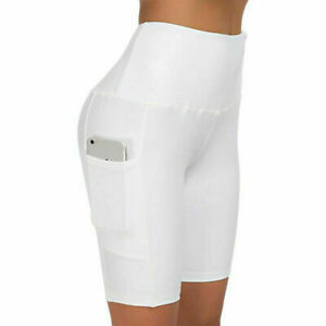 Women Compression Sport Shorts Leggings With Pocket Running Exercise Tight Pants