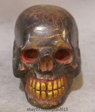 "5"" Old Tibet Buddhism Temple Hand carving Stone Gild Skull Head Buddha Statue"