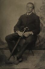 Antique American Handsome Young Man Sitting With Umbrella Tintype Photo