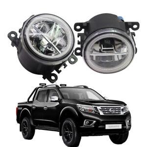 LED Fog Light + Angel Eye Rings Daytime Running Lights DRL Fit For Nissan Navara