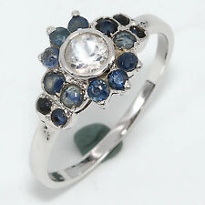 92.5 Sterling Silver Natural Rainbow Moonstone,Blue Sapphire Ring US-8 D-722
