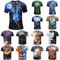 Men's 3D Animal Wolf Printed T-shirts Short Sleeve Funny Tee New Casual Tops