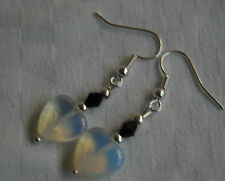 Unique handmade opalite hearts & black crystal silver plated earrings + stoppers