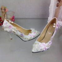 Womens Pointy Toe Bridal High Heels Stilettos Pumps Wedding Floral Party Shoes
