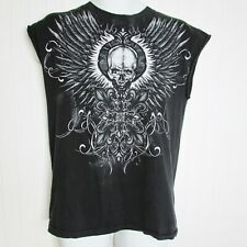 Mens Sleeveless Muscle Shirt SKULL Feather Graphic Black Alstyle Biker Workout M