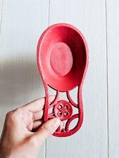 FARMHOUSE Red Enamel-Covered Cast Iron Heavy Spoon Rest Decor