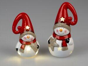Weihnachten zauberhafter Schneemann mit LED und Timer Höhe 14 & 18 cm 2 Motive