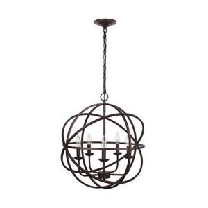Home Decorators Collection Sarolta Sands 5-Light Bronze Orb Chandelier ZB 55607