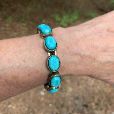Chicos Lindy Bracelet Turquoise on Antique Gold Magnetic Bangle New
