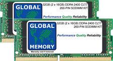32 GB (2 x 16 GB) DDR4 2400 MHz PC4-19200 260-PIN SoDIMM Memoria RAM Kit per computer portatili