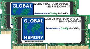 32GB (2 x 16GB) DDR4 2400MHz PC4-19200 260-PIN SODIMM MEMORY RAM KIT FOR LAPTOPS